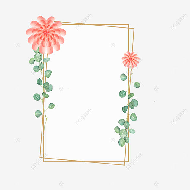 rectangular golden rim pink feather frame