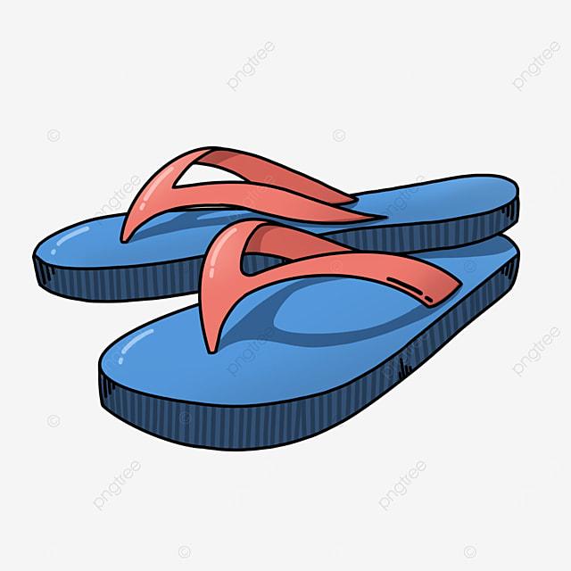 red blue flip flops clipart