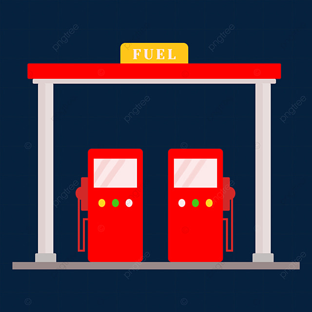 red cartoon gas station clipart