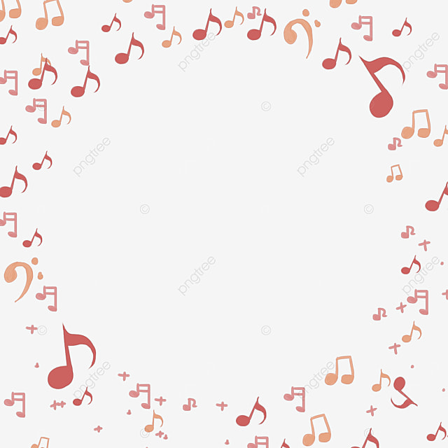 red creative music note border