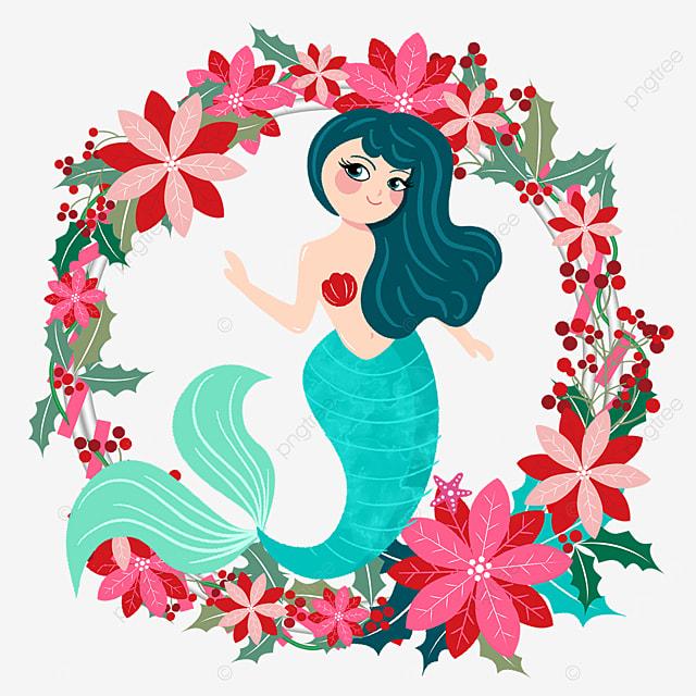 red elegant mermaid wreath