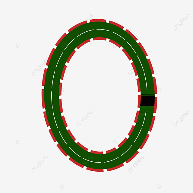 red green curving track race track clip art