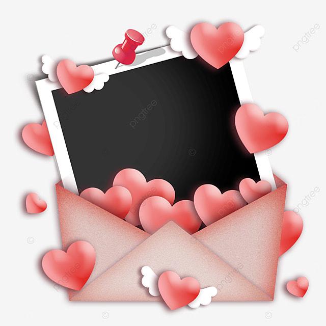 red love envelope photo paper border