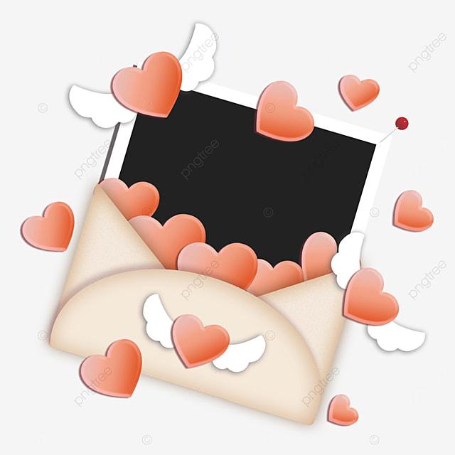 red love envelope photo paper border wings