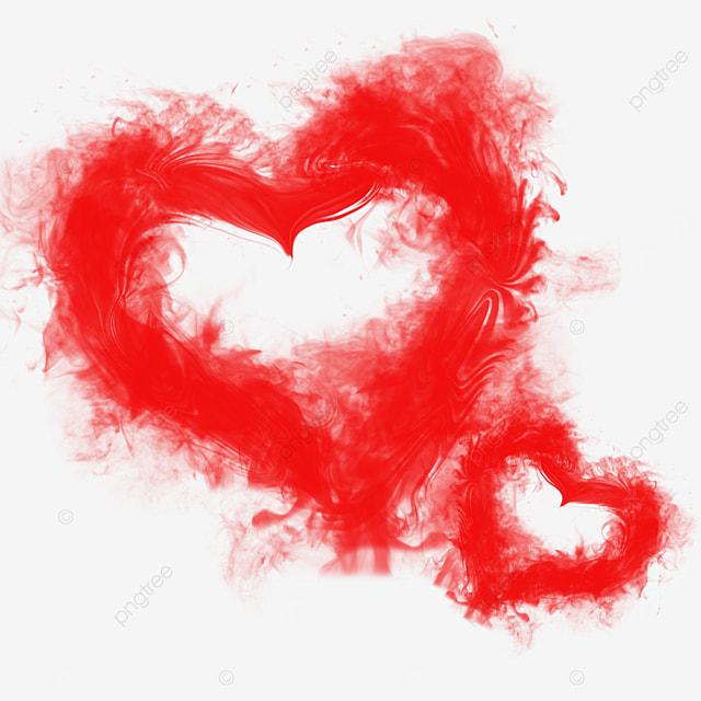 red smoke love heart steam incense smoke