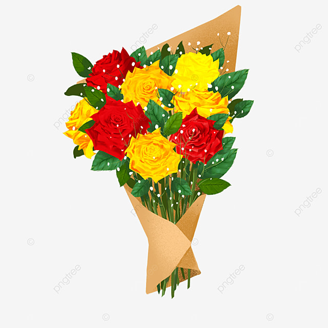 red yellow rose kraft paper bouquet clipart