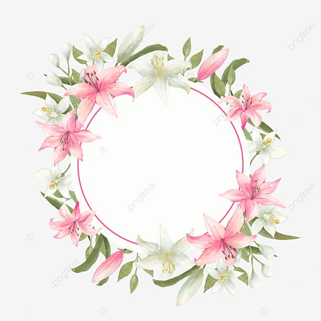 round wedding lily bride invitation card border