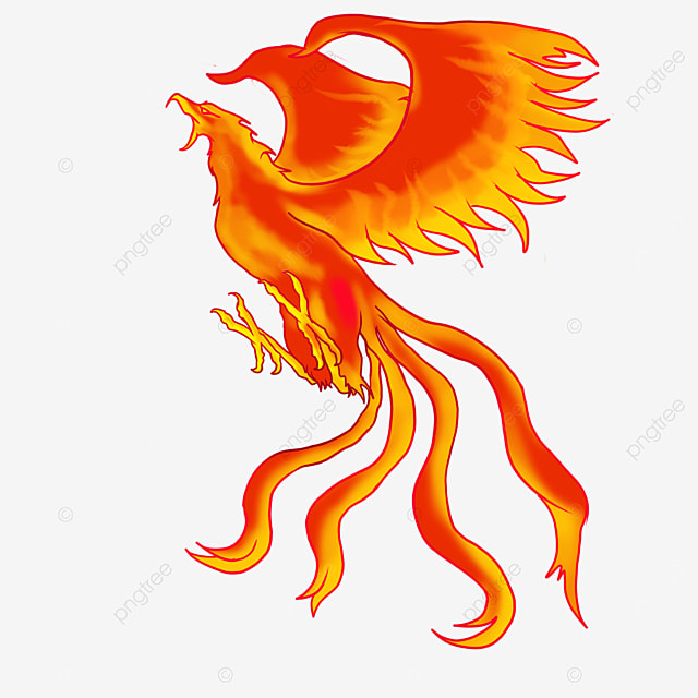 side flying flame phoenix clipart