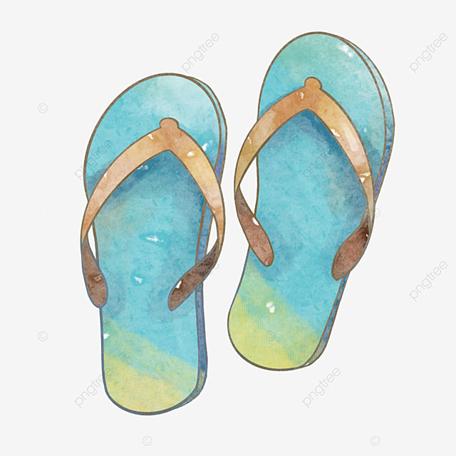 simple blue flip flops in watercolor style clipart