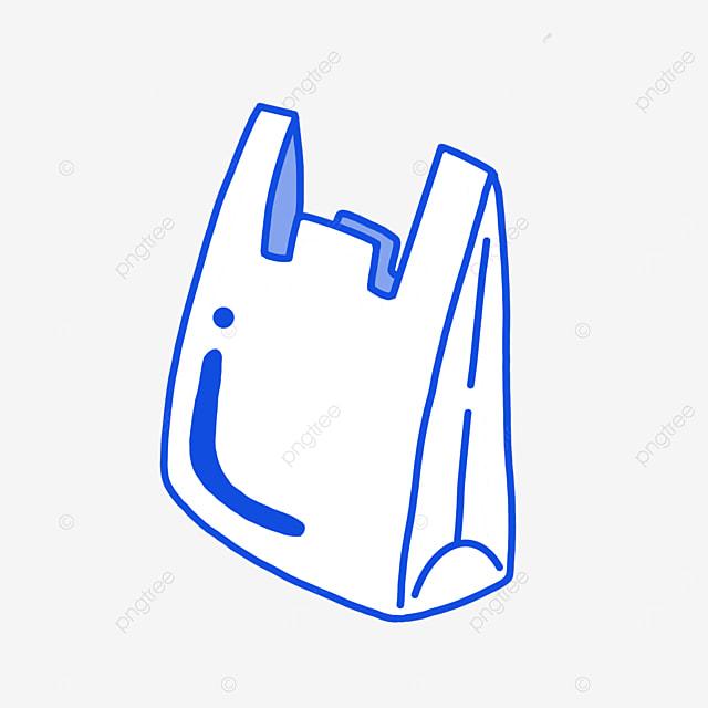 simple line plastic bag clipart