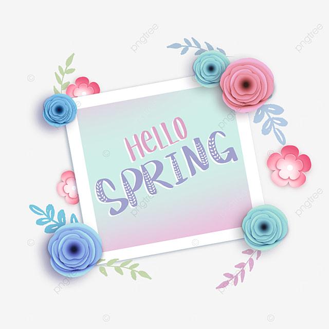spring hello floral text border