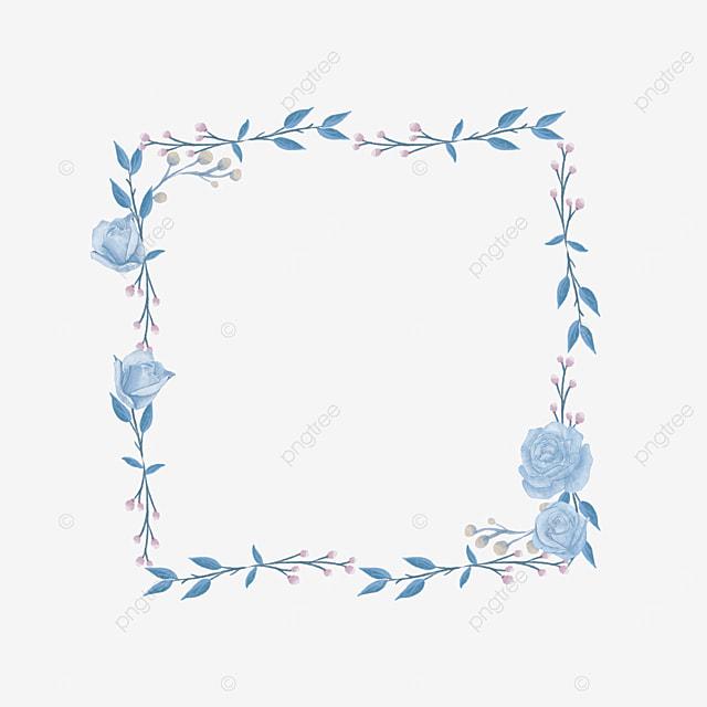 square wedding blue rose border