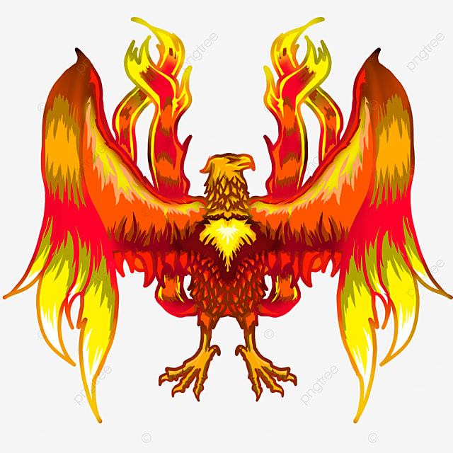 squatting flame phoenix with wings slightly open clipart
