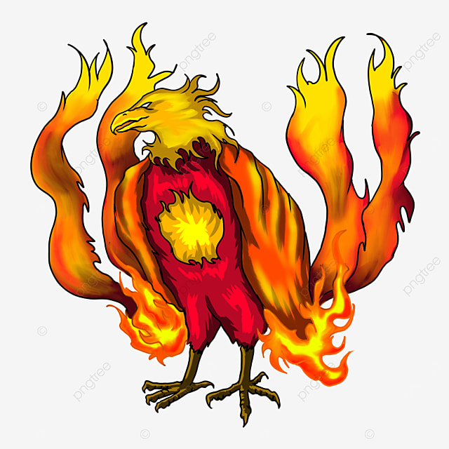 squatting flame wings phoenix clipart