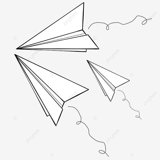 stack of three folded paper airplanes clipart