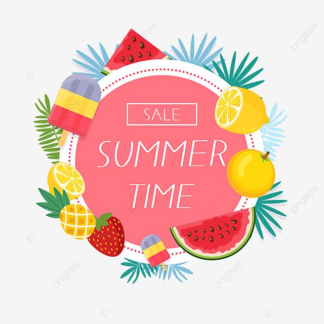 summer cartoon cute fruit border
