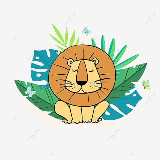 summer cartoon plant lion animal