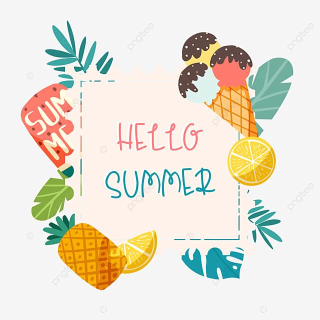summer cute fruit ice cream ice cream border