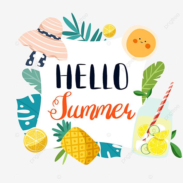 summer cute fruit pineapple lemon border