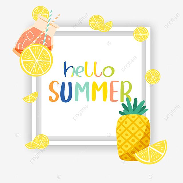 summer cute pineapple drink fruit border