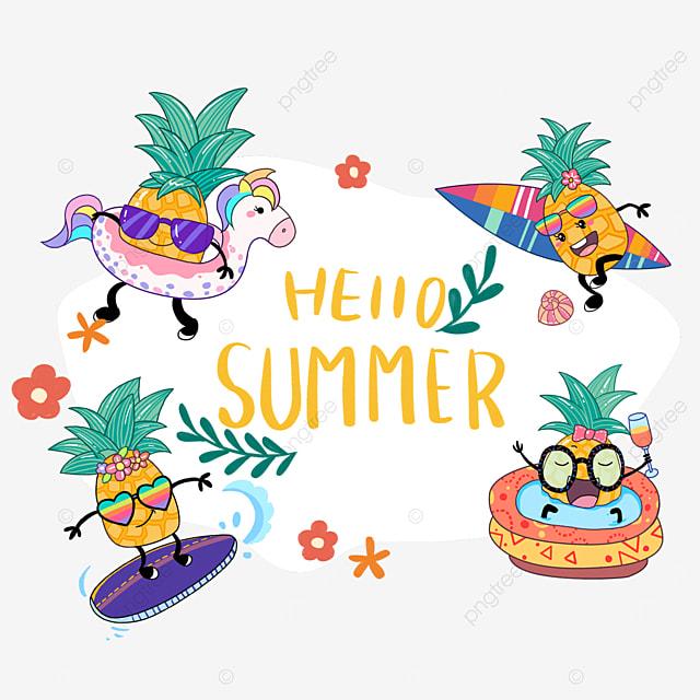 summer cute pineapple fruit border