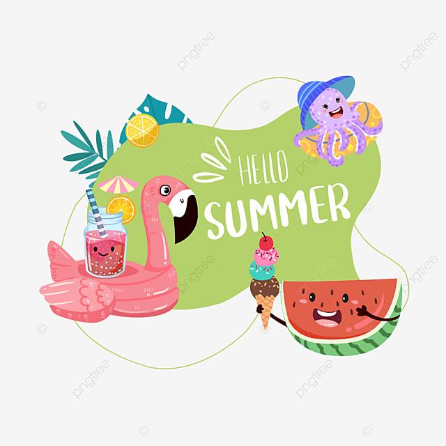 summer cute watermelon fruit border