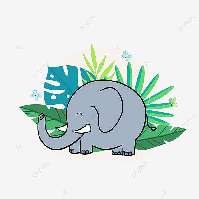summer foliage plant elephant clipart