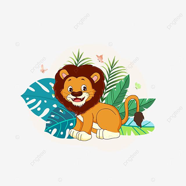 summer forest plant lion animal