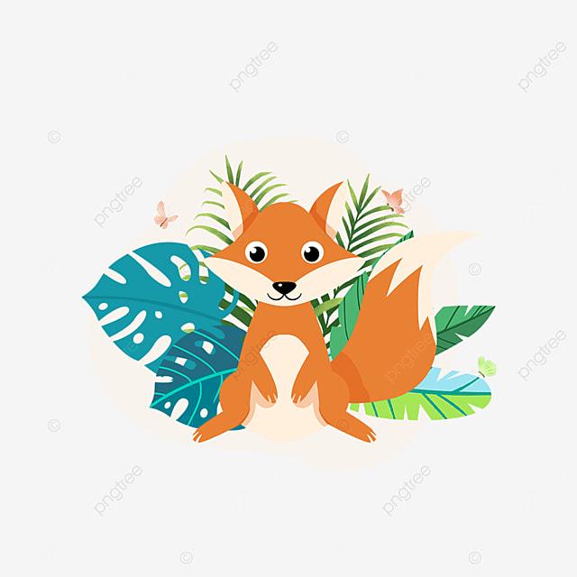 summer plant cute fox animal