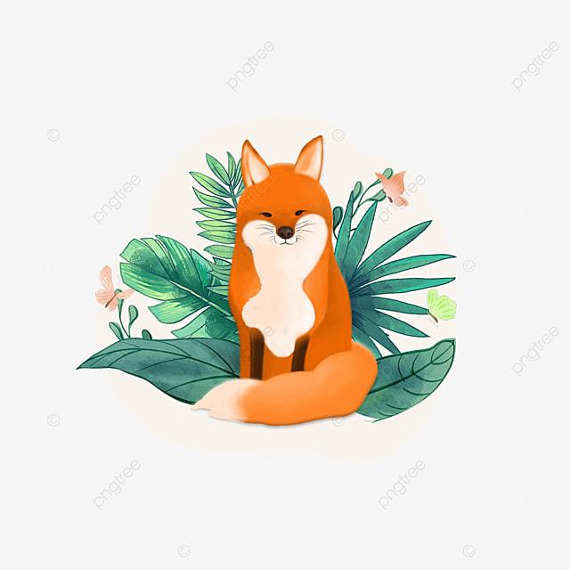 summer plant fox animal clipart
