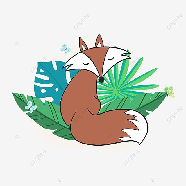 summer plant fox cartoon animal