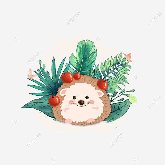 summer plant hedgehog animal clipart