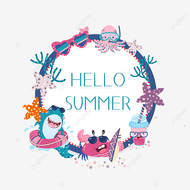 summer round cartoon cute border