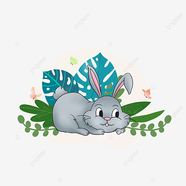 summer tropical plant bunny animal clipart