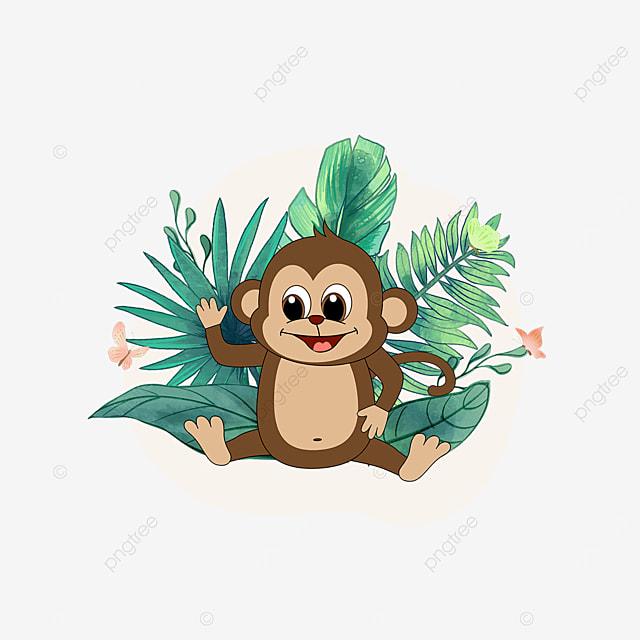 summer tropical plant monkey clipart