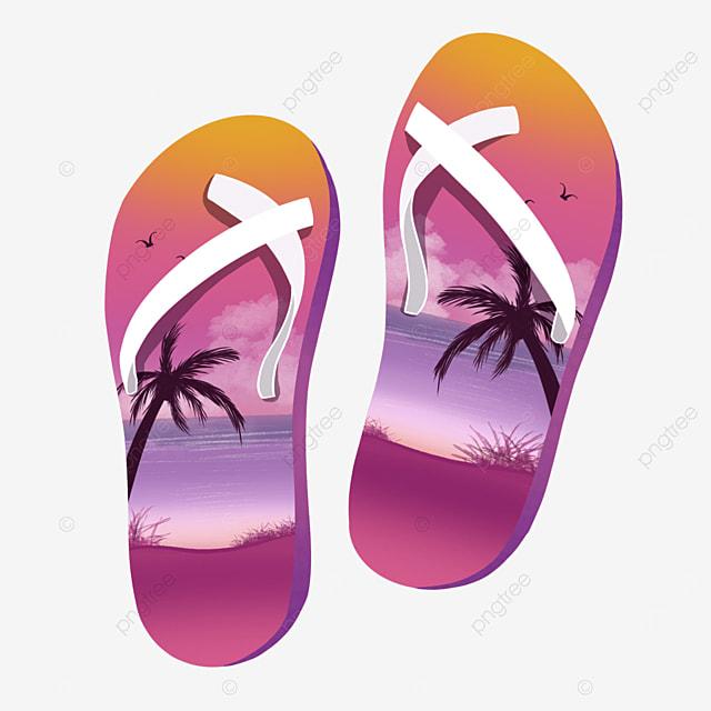 sunset beach flip flops clip art