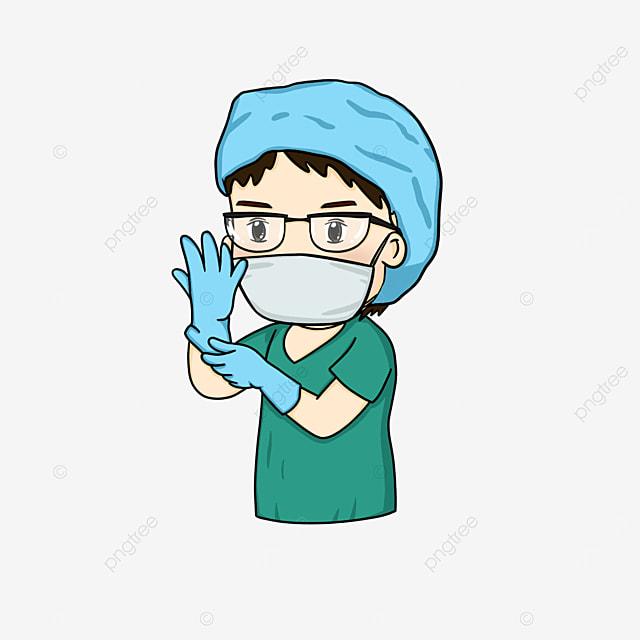 surgeon preparing for surgery clipart