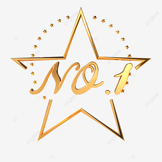 the first place in metallic five pointed star