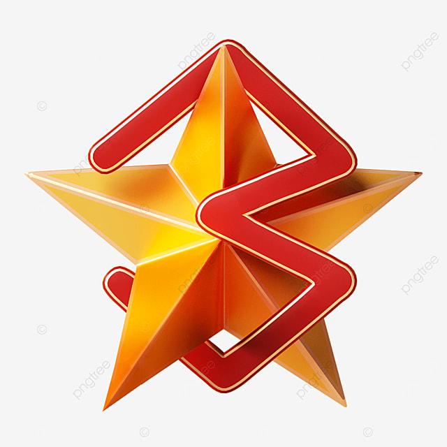 three dimensional top three five pointed stars