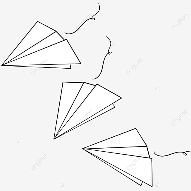 three paper airplanes clipart