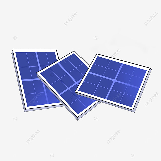 three solar panels clipart