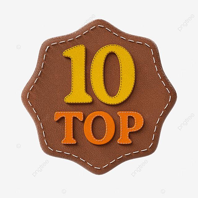 top ten badges in leather texture