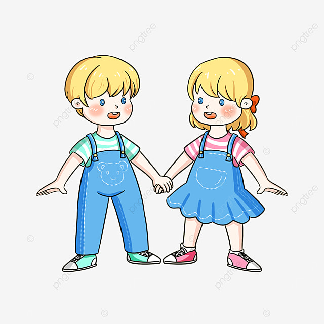 twins holding hands clipart