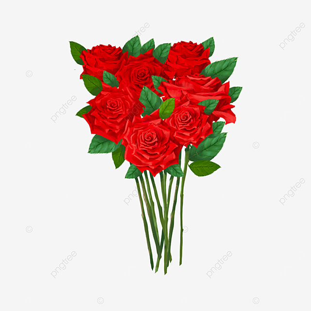 valentines day red rose bouquet clipart