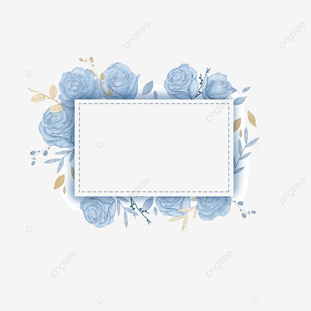 watercolor wedding blue rose square border