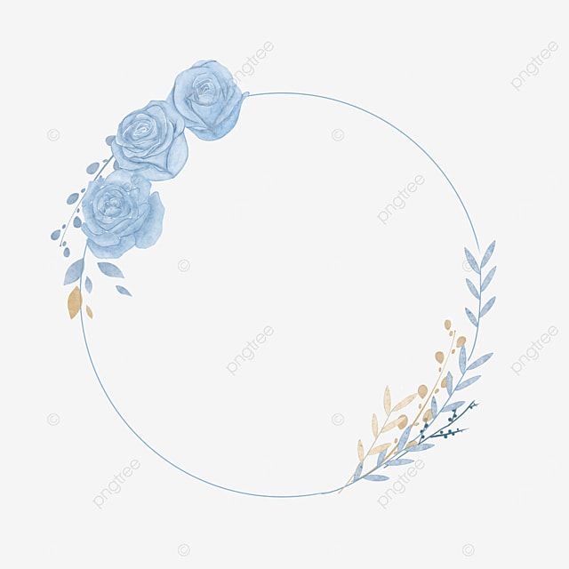 wedding watercolor blue rose border