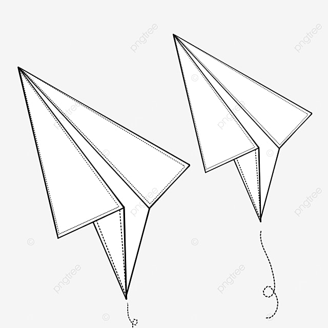 white paper airplane with black lines clipart