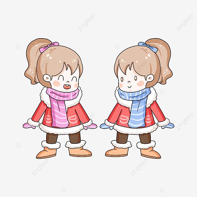 winter teenage twins clipart
