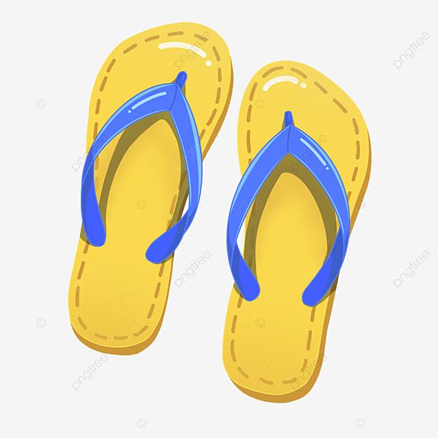 yellow blue cartoon cute flip flops clipart