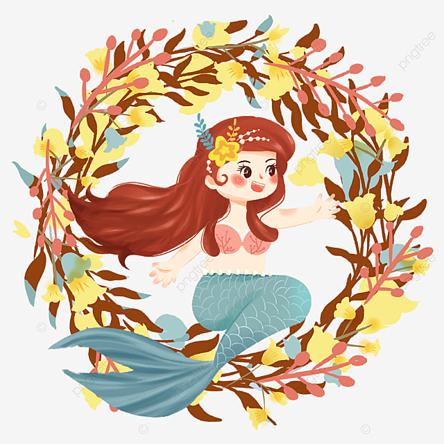 yellow cute mermaid wreath